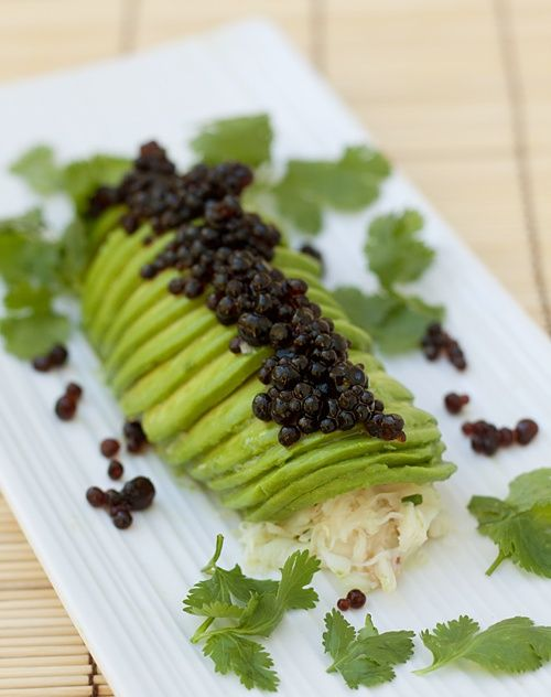 """Avocado Crab Roll with Soy Sauce """"Caviar"""""""