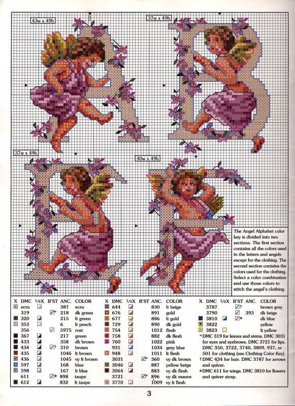 Schema punto croce Alfabeto Angeli 1