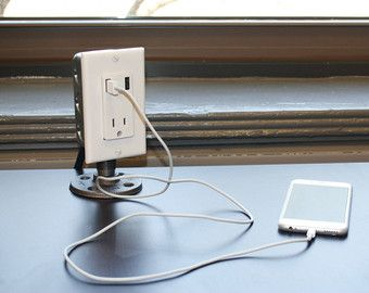 Industrial Desk USB Charging Station. I could totally make this.