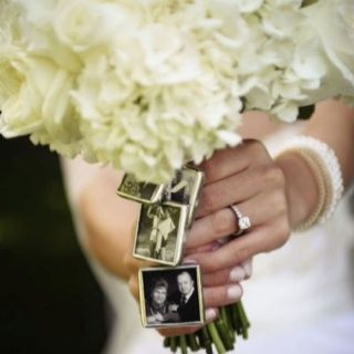 In-memory-of photos on the bouquet. This is a fantastic idea as well! I adore all the different ways of honoring the loved ones that have passed at your wedding <3 **I love love this idea..it's definitely a must**