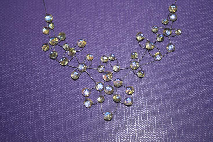 Szecessziós nyaklánc - Üveg ékszer Cseh vagy japán üveggyöngyből, illetve osztrák kristályból készült ékszerek.