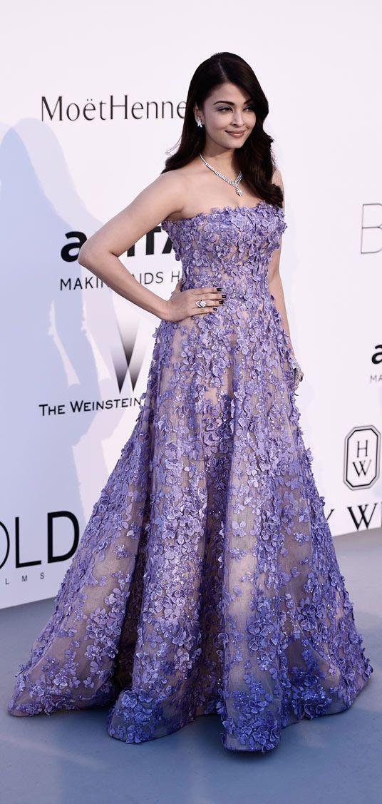 Aishwarya Rai Bachchan wearing Elie Saab at the amfAR gala 2015