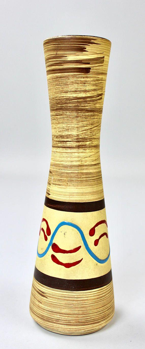 Vintage Vasen, Keramik Vase, Bay Jasba, Westgerman Pottery 50er 60er Jahre, Mid Century Sammlung  Das Mid Century Trio besteht aus folgenden Vasen (von links nach rechts):  - Bay Keramik Vase, 50er Jahre, bauchige Form mit einseitigem Dekor, sehr guter Zustand Hersteller: Bay Keramik