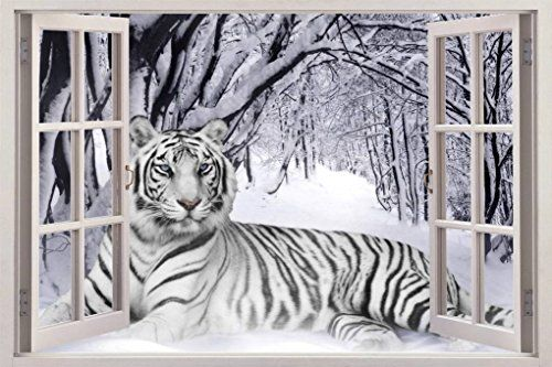 Snow Tiger 3D Window View Decal WALL STICKER Art Mural Siberian White Animals Huge C080 * For more information, visit image link.
