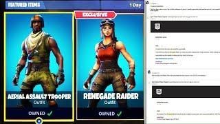 renegade raider returning confirmed by epic employee fortnite renegade raider item shop update - assault trooper fortnite combos