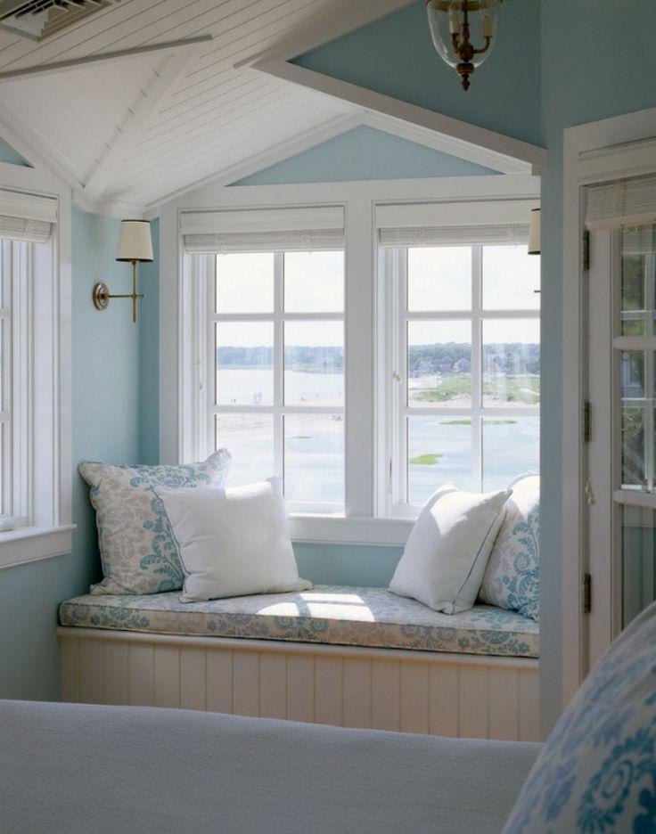 Cape Cod : Coastal blue reading nook of master bedroom via OurBoathouse.com