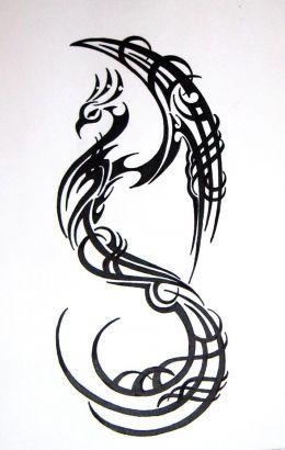 Tribal Bird Tattoos for Women | Tribal Phoenix Picture Tattoo Design.