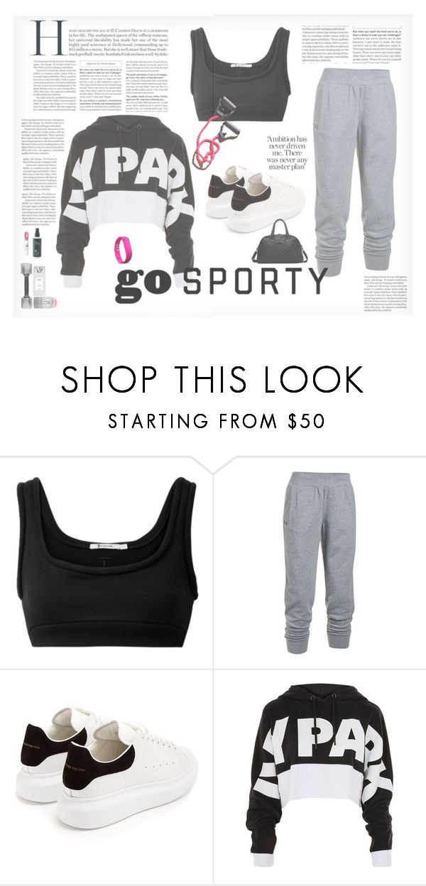 """""""Gym class"""" by ilarial1 ❤ liked on Polyvore featuring T By Alexander Wang, Under Armour, Alexander McQueen, Topshop and Fitbit"""