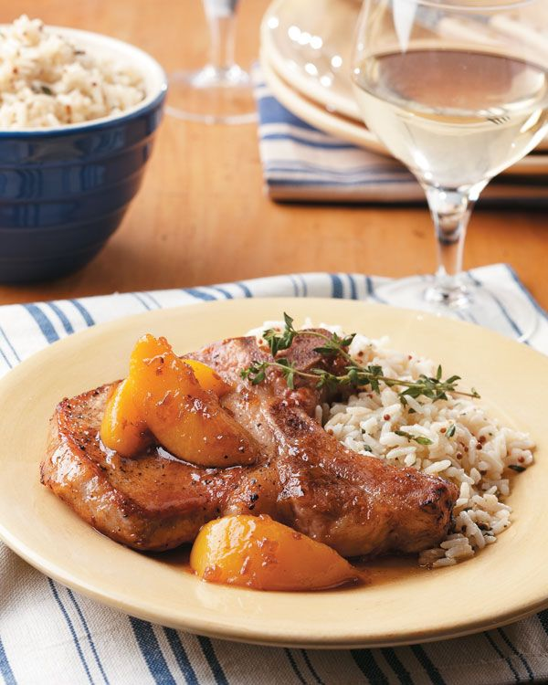 Peach Pork Chops with Bourbon Maple  Glaze