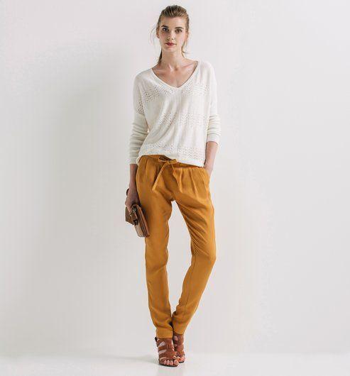 Pantalon carrot fluide Femme ocre - Promod