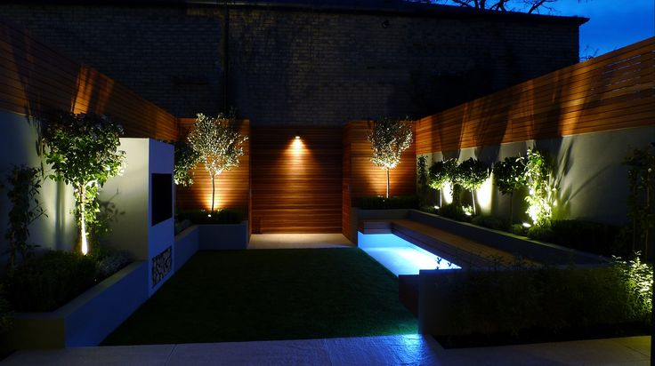 night lighting garden modern small garden design london