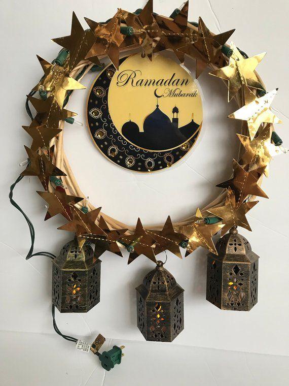 Ramadan Mubarak Front Door Sign With Lantern And Light Ramadan Wreath Ramadan Decorations Ramadan Crafts Diy Eid Decorations