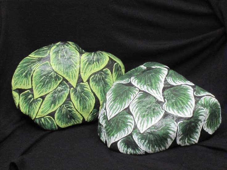 I Paint Hostas On Rocks And Place In My Garden; Patio Paints + Acrylic Spray