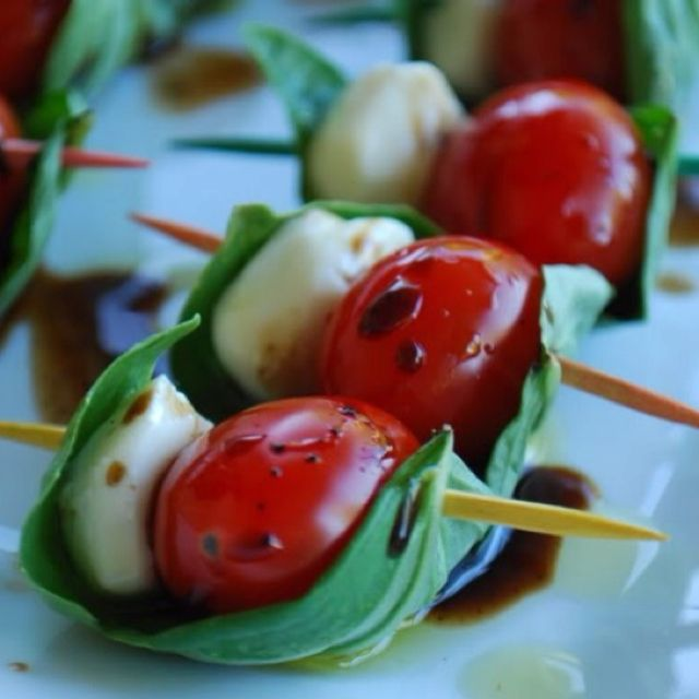 Bite-size Caprese salad- great idea for a party