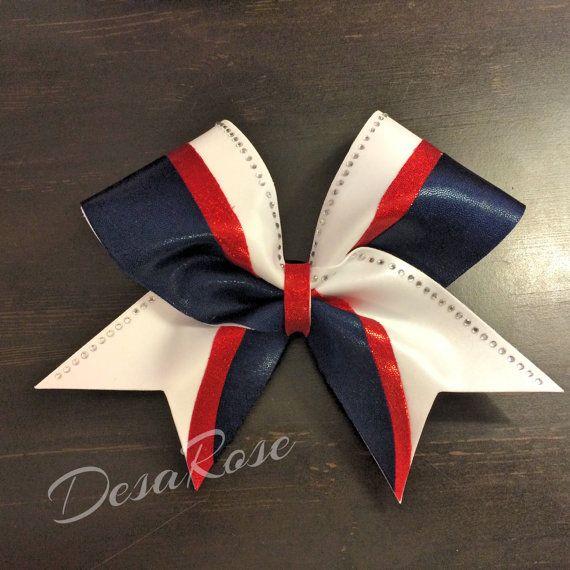 Red, White, & Navy with Bling ~ Cheer Bow ~ Sports bow ~ Softball bow