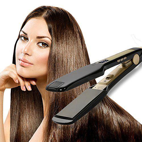 OSIR Professional Titanium Hair Straightener Flat Iron with Digital LCD Display ,Dual Voltage,Instant Heat Up(1.75 inch,black)