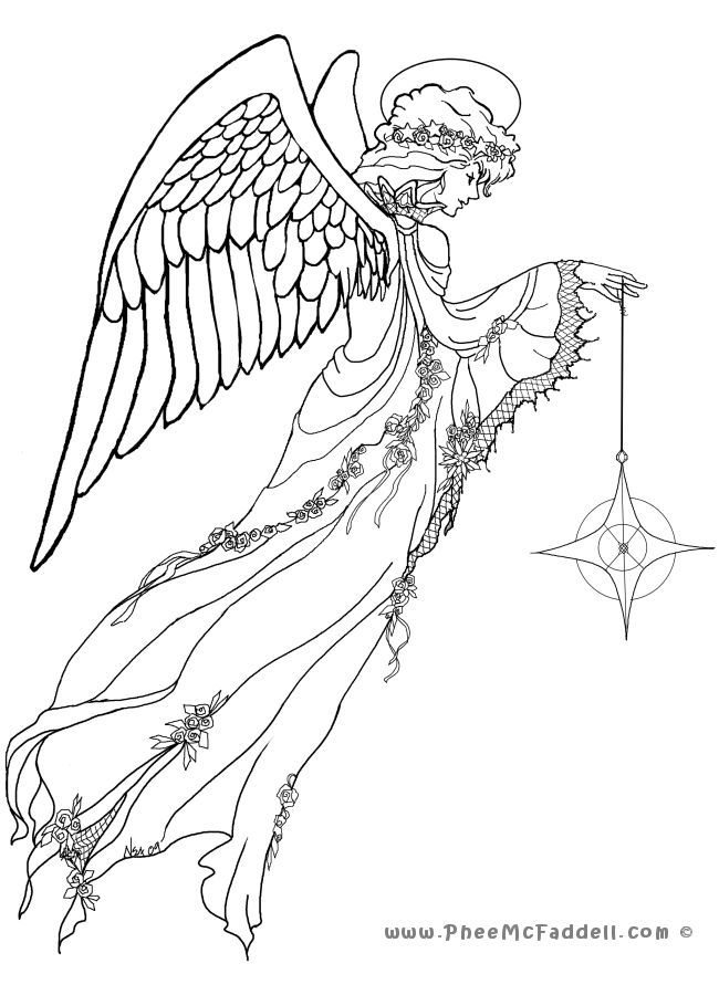 By Phee McFaddell Angel Fantasy Myth Mythical Legend Wings Warrior Valkyrie Anjos Goth Gothic Coloring Pages Colouring Adult Detailed Advanced Printable