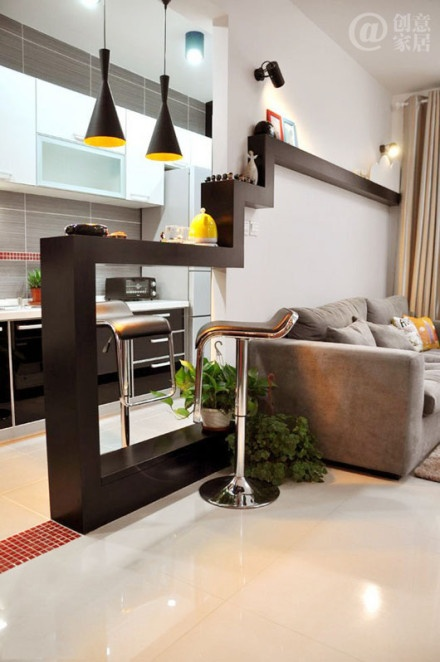 wall separator idea between dining and den , lovely #interiordesign portable bar, home bar design, bar stools, ceiling design,  bar counter,  lighting design,  bar trolley, wine cellar