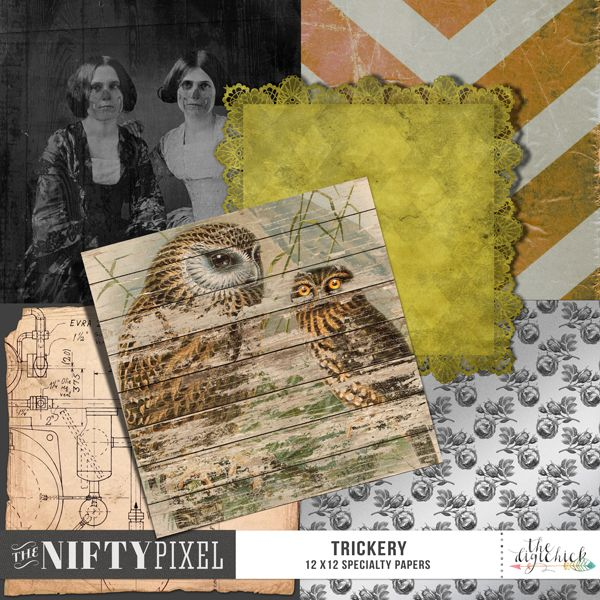 """TRICKERY   Specialty Papers This pack of papers coordinates with the TRICKERY collection. It includes a mixed bag of styles includes a woodgrain vintage photo, peeled paint, laced border, metallic surface and a weathered old grungy diagram for a boiler room.   DOWNLOAD INCLUDES:  6X Specialty Papers (12"""" X 12"""") All products are saved at 300ppi for optimum printing quality."""