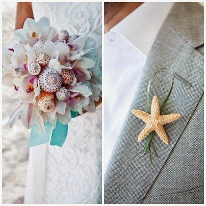 Origineel bruidsboeket en een bijzondere corsage in strand thema!