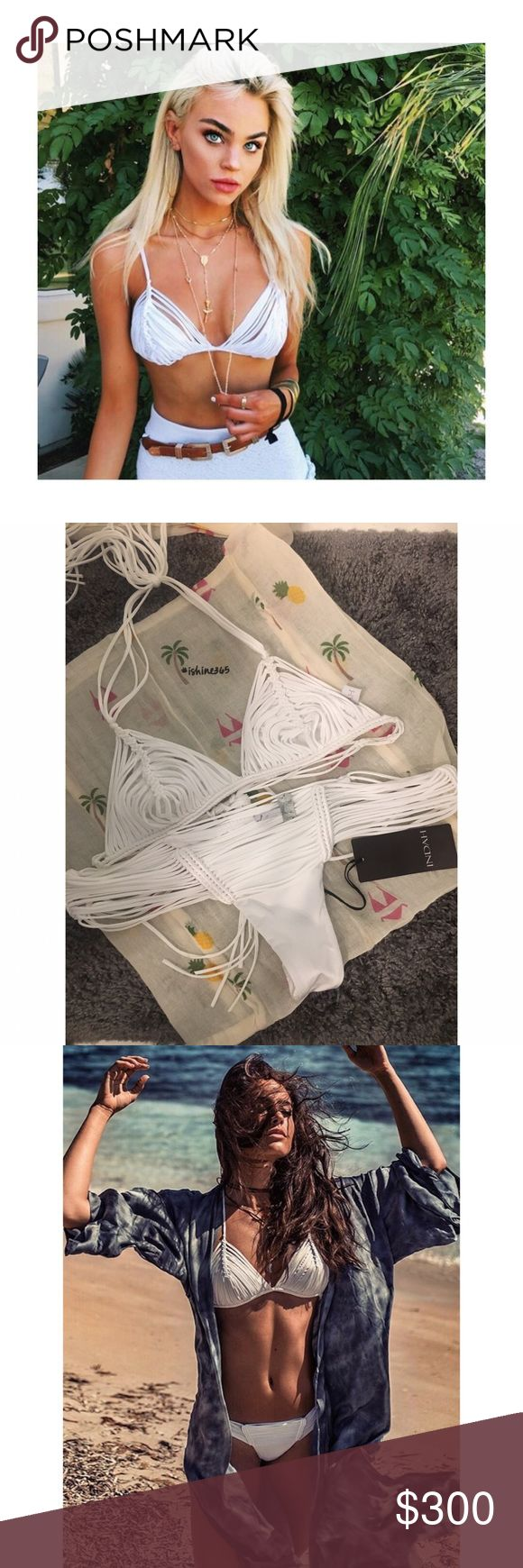 Indah swimwear set! 😍😭 This is suchhhhh a cute bikini Iv had soo many bikinis and this one is one of my favorites! So fitting on the body and makes everything look so good! Especially with a tan! Small top medium bottoms but could fit a small also! Brand new with tags! Only selling through 🅿️🅿️ or ✔️enmo! I love this bikini my price is firm! Willing to trade for other designer bikinis! Indah Swim Bikinis