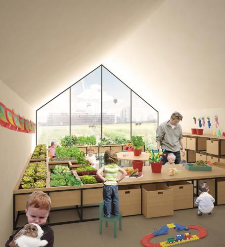 This preschool would double as an urban farm || growing and learning about where food comes from + solar + an enlivened classrooms looks amazing
