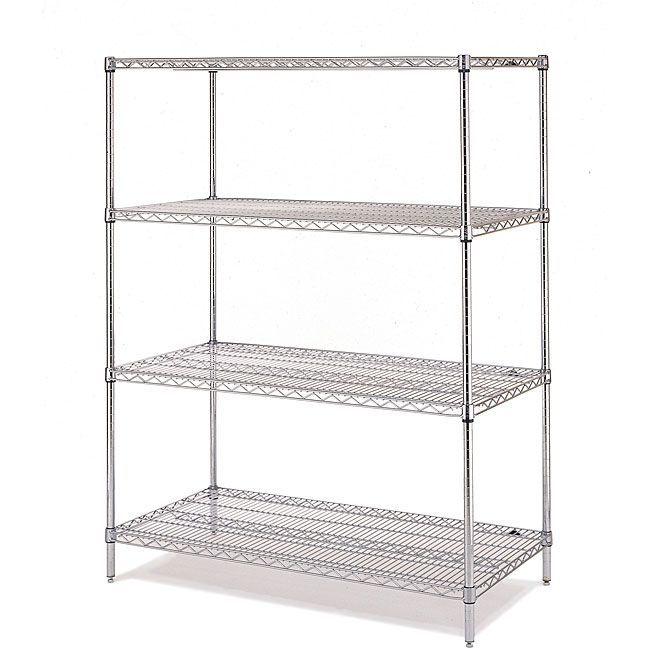 Olympic 4-shelf Starter Shelving Unit , Grey chrome