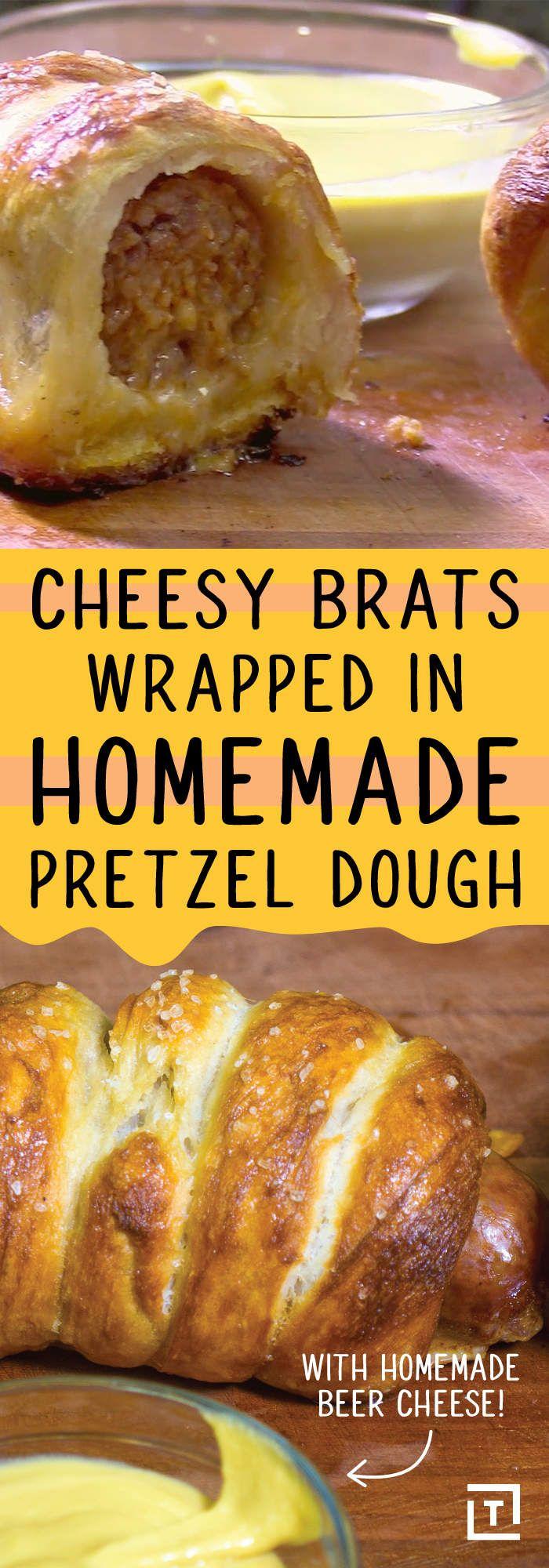 Bratwurst Sausages with a Pretzel Dough Recipe Video - Thrillist