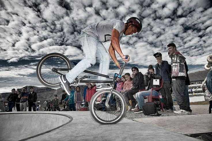 Inuk Siegsted - BMX hero. Grand Opening Grønlandsbowlen 2012 Sisimiut. Foto: Steen Olsen