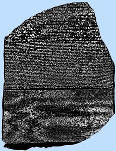 One of the keys to unlocking the secrets of ancient Egyptian writing was the 'Rosetta Stone'.
