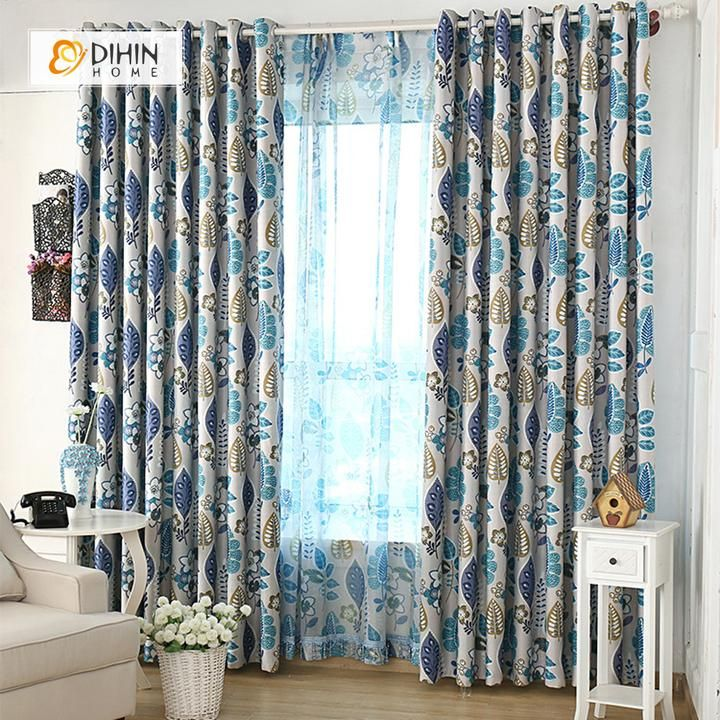 Dihin Home Brown And Blue Leaves Printed Blackout Grommet Window Curtain For Living Room 52x63 Inch 1 Panel Curtain Fabric Design Curtains Living Room Curtains #print #curtains #living #room