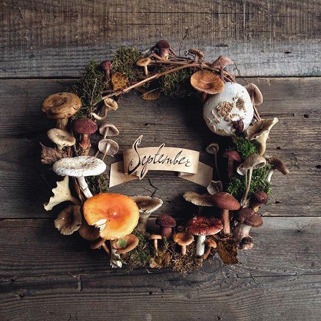 В этом году сентябрь такой __________ #September #mushrooms #wreath #autumn…
