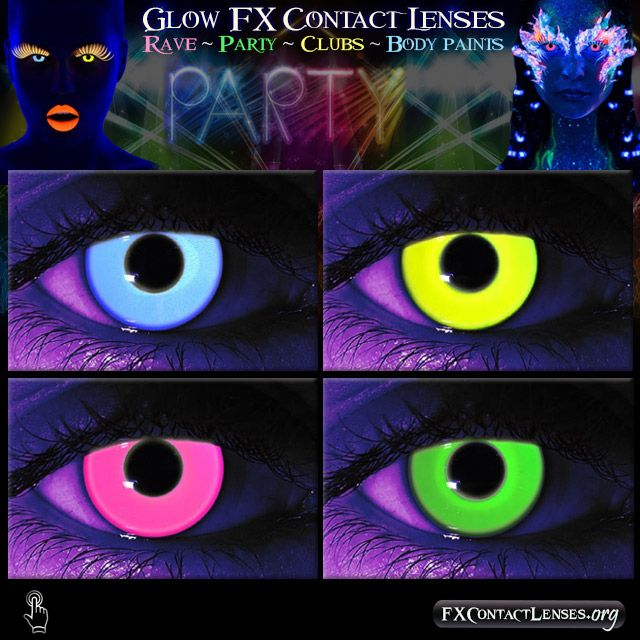 Ever think that you can have even more FUN under a black-light?  Well, now you can with Black-light glow in the dark contact lenses.  Look like a beautiful glowing alien in a black-light lit room and get the attention you deserve.  Whether you're dancing the night away.. partying to the break of dawn.. raving like a pro.. or rocking clubs in dynamite fashion...  Glow like a beautiful star, or accentuate a scary character & creature makeups for a black-light haunt or Halloween attraction.