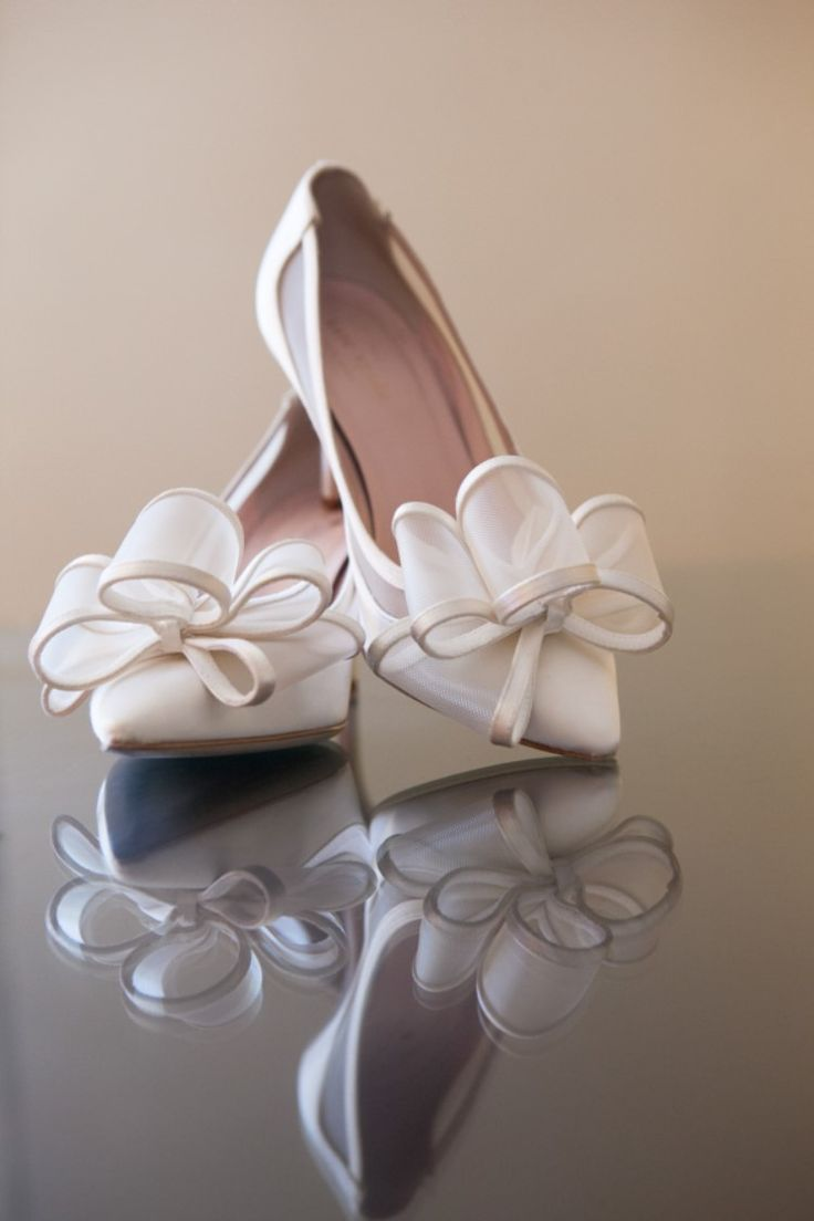 Classic and elegant white bridal heels (Carrie Wildes Photography)