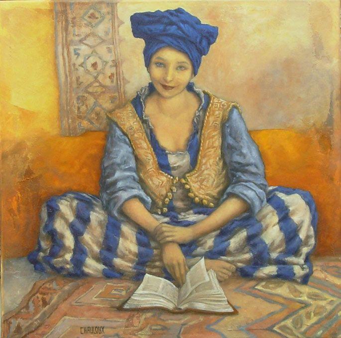 Catherine Chauloux, Les Déjantés - L'orientale au turban bleu - Huile sur toile