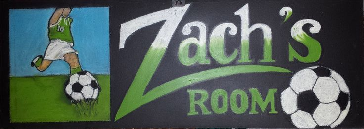 Chalkart Blackboard Room Sign hanger with Soccer theme and name personalized in favourite colour.