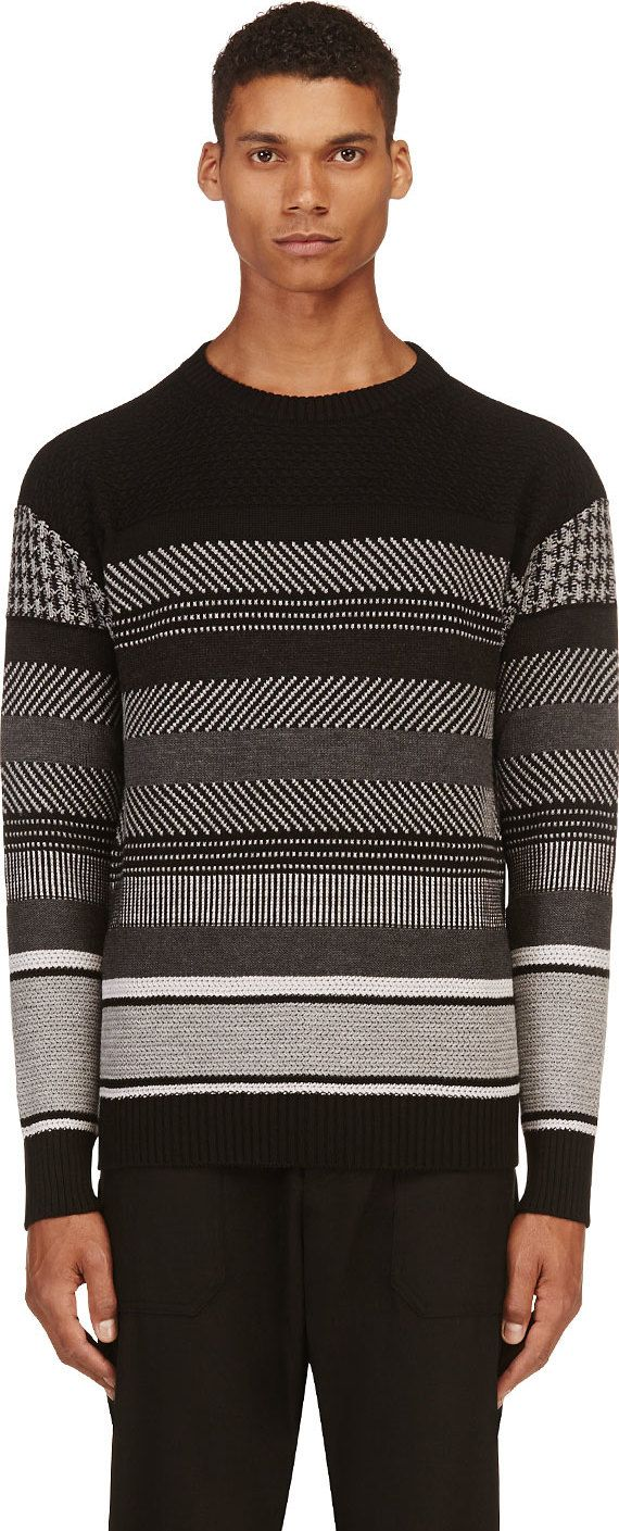 Diesel Black Gold - Black Striped Kollaudo Sweater - Long sleeve striped wool knit sweater in black and grey, alternating knit patterns throughout, ribbed crewneck collar, sleeve cuffs, and hem, faux-leather logo flag at back collar, tonal stitching