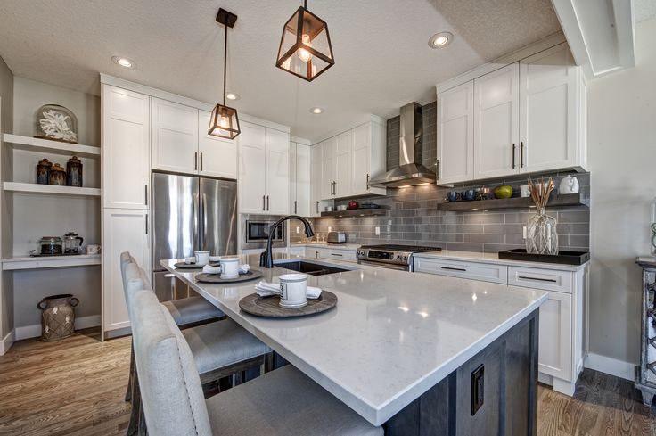 One of our kitchen designs from a home in Bayside or Pier 11 in Airdrie, Alberta.