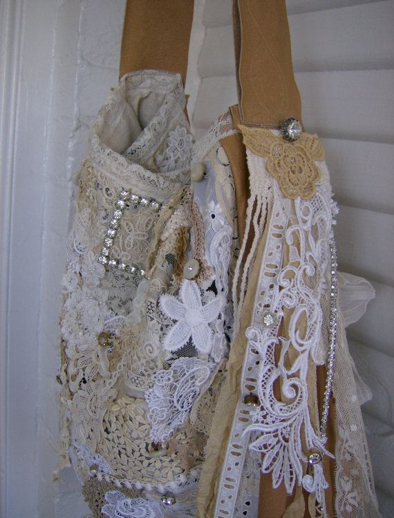 Tote Purse Leather and Lace Gorgeous Crazy by VioletRose1930, $399.00