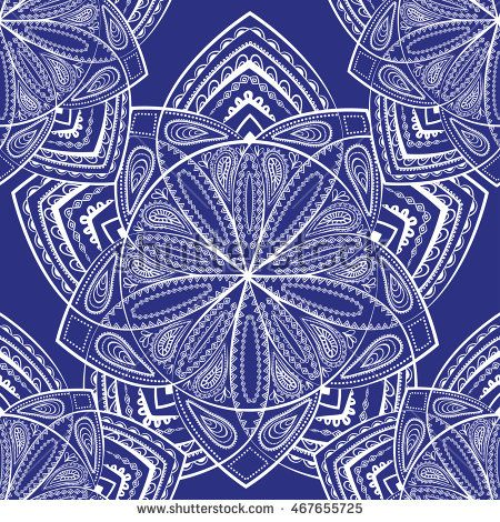 Vector seamless pattern with Indian ornament.