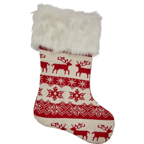 Gisela Graham Red &Amp; White Knitted Wool Scandinavian Stocking ($15) ❤ liked on Polyvore featuring home, home decor, holiday decorations, white home accessories, white christmas stockings, european home decor, red home accessories and scandinavian home decor