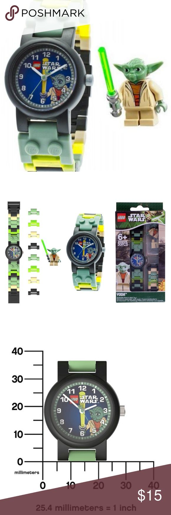LEGO® Star Wars Watch with Minifigure- Yoda LEGO® Star Wars Watch with Minifigure- Yoda *Ages 6+ *Japanese Quartz movement. *Battery included. *Scratch resistant mineral crystal lens. *water resistant up to 165 feet (50 meters). *Includes authentic LEGO® minifigure. *Made in China  Brand new in original packaging. Lego Accessories Watches