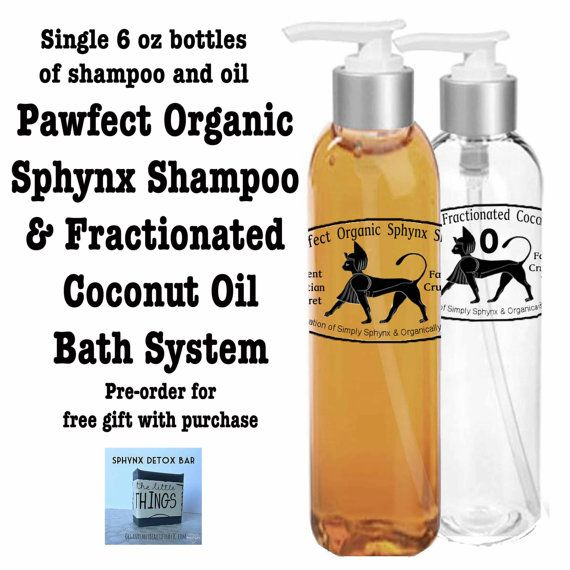 Sphynx Cat Shampoo Large Gift Set Pawfect Sphynx Organic Shampoo with Fractionated Coconut Oil.  Bath set for hard to clean naked cats. by SimplySphynx
