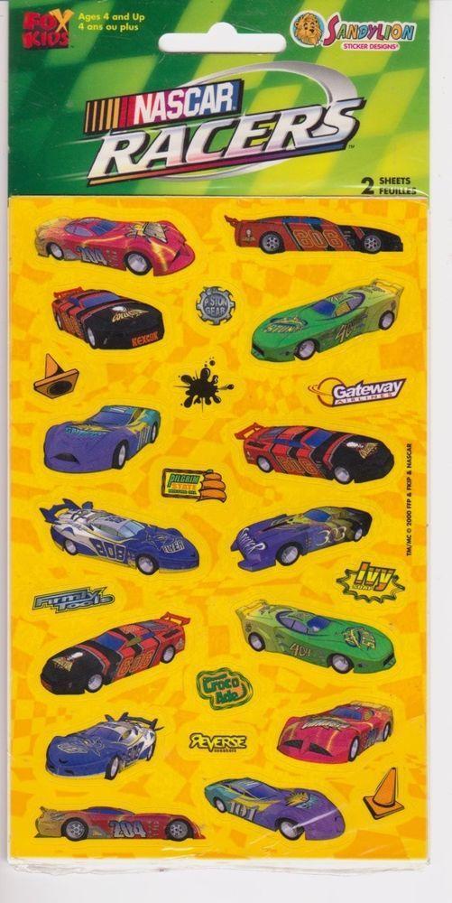 Sandylion Nascar Racers Sticker Pack 2 Sheets Car Fox Kids 2000  #Sandylion