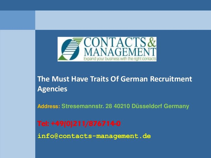 The Must Have Traits Of German Recruitment Agencies  >>>>  Hiring the right headhunters in Germany will streamline the entire process of recruiting the best candidates. Let's have a look at a few of the qualities that a recruitment agency should possess.   #GermanRecruitmentAgencies,  #headhunters #germany