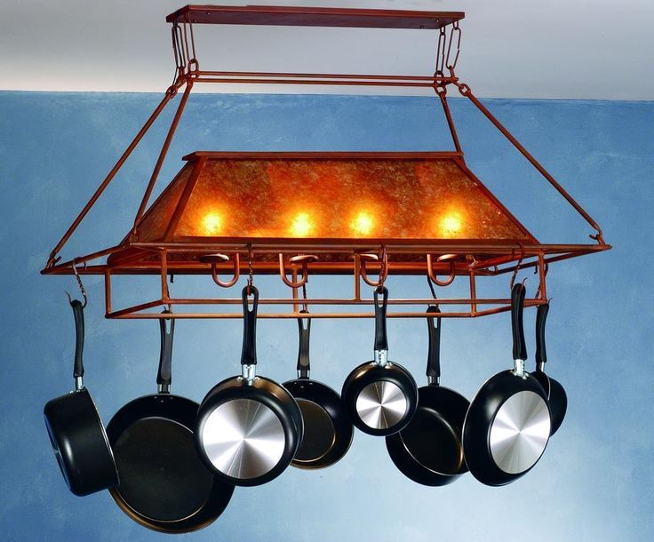 Small Hanging Pot Rack Part - 48: Depiction Of Pot Rack With Lights: A Storage Solution For A Small Kitchen  Space