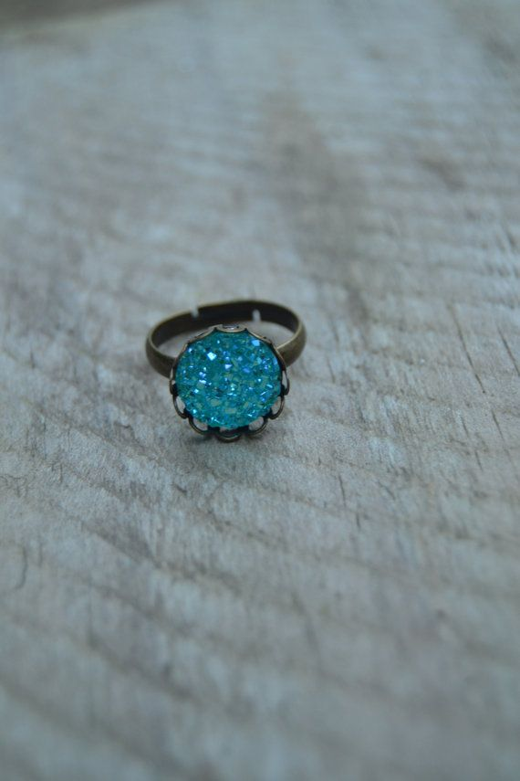 Aqua druzy ring bronze, adjustable faux druzy ring, boho ring turquoise blue druzy ring faux, druzy jewelry by Valkyrie´s Song