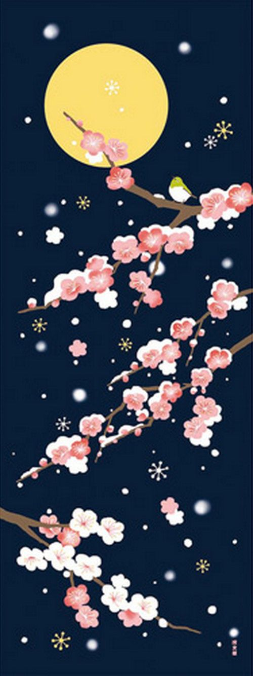 Japanese Tenugui cotton towel fabric. Winter peaceful night design. High quality tenugui fabrics made of soft 100% cotton cloth and hand dyed