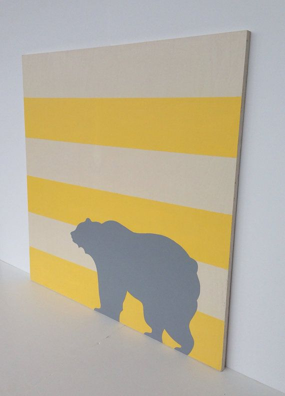 Large Hand Painted Gray Yellow Nursery Art on a by SweetBananasArt  Looks like a California Brown Bear. Love it!