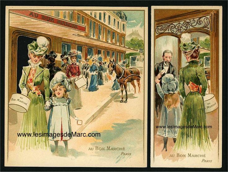 Chromolithographie publicitaire du Bon Marché (dimensions déplié : 13 cm x 15 cm).  www.lesimagesdemarc.com